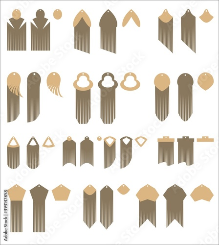 Tablou Canvas Set of design and decor elements of Fringed earrings