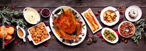 Stampa su Tela Traditional Christmas turkey dinner