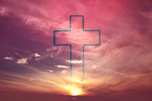 Easter, Ascension Day Concept. Silhouette Of Shining Cross On Sunset, Sunrise Background. Banner. Copy Space. Church Worship. Faith Symbol. Gate To Heaven. Eternal Life Of Soul. Christianity Gospel