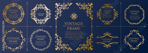Fototapeta 高級感のある フレームデザイン テンプレートセット ラグジュアリー ゴージャス ビンテージ アンティーク  obraz