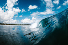 Powerful Blue Breaking Ocean Waves With White Foam