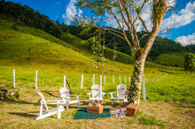 Cozy Blanket And Wooden Chairs Arranged Under Tall Tree On Meadow For Picnic In Summer