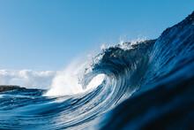 Powerful Blue Breaking Ocean W...