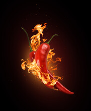 Two Red Chili Peppers In A Burning Flame Close-up On A Black Background.