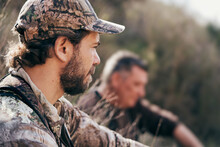 Side View Of Male Hunter In Ca...