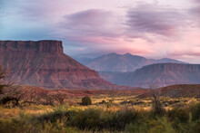 Scenic View Of La Sal Mountains During Sunset