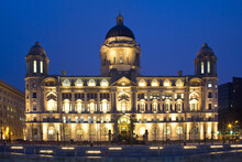 View Of Port Of Liverpool Building Against Sky At Night