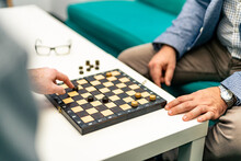 Checkers On A Wooden Board. Se...