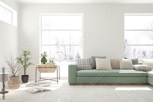 Fotografie, Obraz White living room with sofa and winter landscape in window
