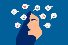 Mood Swing Concept. Many Emotions Surround Young Female With Bipolar Disorder. Woman Suffers From Hormonal With A Change In Mood. Mental Health Vector Illustration
