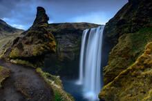 Scenic View Of Skogafoss Waterfall