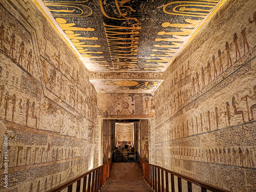 January 2020 - Luxor, Egypt: KV9, Kings' Valley No. 9, Tomb of Memnon, tomb of the pharaohs from the 20th dynasty: Ramses V and Ramses VI.