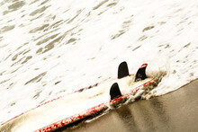 Close Up Of Surfboard On Beach
