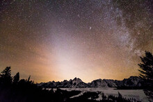 Scenic View Of Milky Way Over Teton Range And Snake River