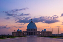 Scenic View Of Basilica Of Our Lady Of Peace Against Cloudy Sky At Dusk