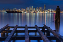 View Of Seattle Skyline At Night