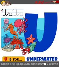 Letter U From Alphabet With Cartoon Underwater Animals