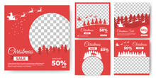 Set Of Editable Banner Design. Social Media Template With Silhouette Of Santa Claus , Deer And Tree. Christmas Post Template With Photo Collage. Usable For Social Media, Banner And Web Internet Ads.