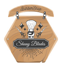 Wooden Plate Or Board For Barbershop. Shaving Brush, Stars, Scissors, Decoration Elements. Using For Signboard Above Entrance Of Barbershop. Text In Frame, Shiny Blades. Decorative Nameplate Isolated
