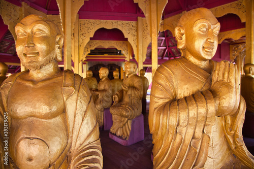 Beautiful shot of Buddhist sculptures in Thailand Canvas Print