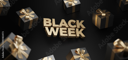3d rendering of Black Week Super Sale Fotobehang