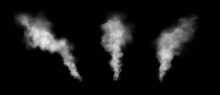 Set Of Vector Transparent Smoke Effects Isolated On Black Background