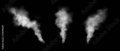 Obraz na plátne Set of vector transparent smoke effects isolated on black background