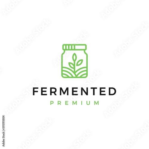 Fototapety, obrazy: Fermented jar eco friendly logo