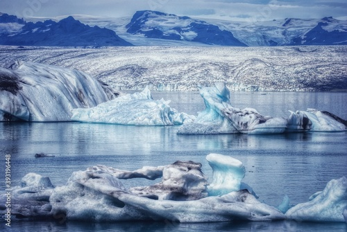 Jokulsarlon lagoon, Beautiful cold landscape, glacier lagoon bay, Iceland Canvas