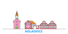 Czech Republic, Holasovice Cityscape Line Vector. Travel Flat City Landmark, Oultine Illustration, Line World Icons