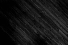 Abstract Black Background With Diagonal Wooden Board Texture. Elegant Dark Gray Grunge Nature Boards Image For Elegant Style Decor, Banner, Backdrop