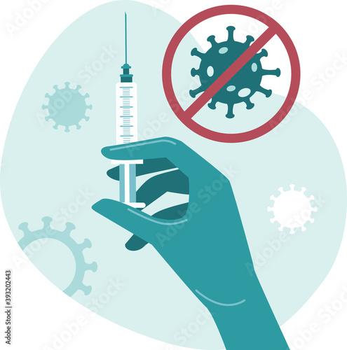 Leinwand Poster Doctor, nurse, scientist, researcher hand in blue gloves holding coronavirus, covid-19 2019-ncov vaccine