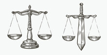 Scales Of Justice Sketch. Jurisdiction, Equity Symbol Vector Illustration