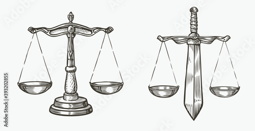 Photo Scales of justice sketch
