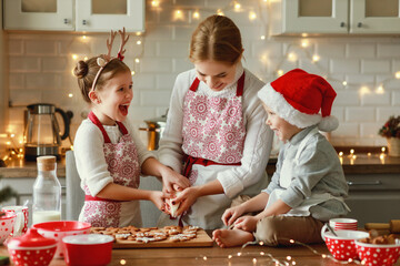 Panel Szklany Boks happy family mother and children bake christmas cookies