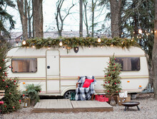 Travel Trailer With Christmas Decorations