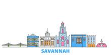 United States, Savannah Cityscape Line Vector. Travel Flat City Landmark, Oultine Illustration, Line World Icons