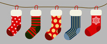 Christmas And New Year Holiday Traditional Colorful Socks With Holiday Patterns. Deer And Santas Helpers Elves On Present Warm Winter Stockings And Candy Strips Flat Vector Isolated Icon Set.