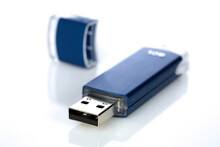 Blue Pendrive On White Background