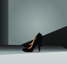 Ladies Shoes Place On The Floor In The Dark Room Illustration