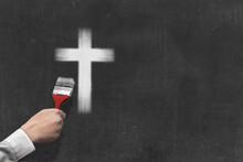 Businessman Hand Painted Christian Cross