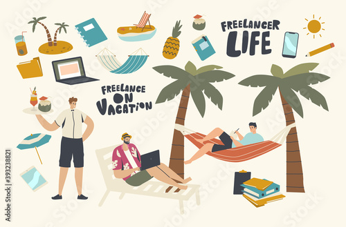 Freelancers Male Characters Wear Summer Clothes Sitting on Deck Chair and Hammock under Palm Tree on Tropical Vacation