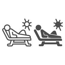 Beach Chair And A Man Relaxing In Sun Line And Solid Icon, Aquapark Concept, Man Sunbathing Sign On White Background, Person Relaxing On A Chaise Longue Icon In Outline Style. Vector Graphics.