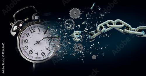 Obraz time clock breaking in  flying pieces time pass memory loss future new era feelings  gears free freedom psychology war - fototapety do salonu