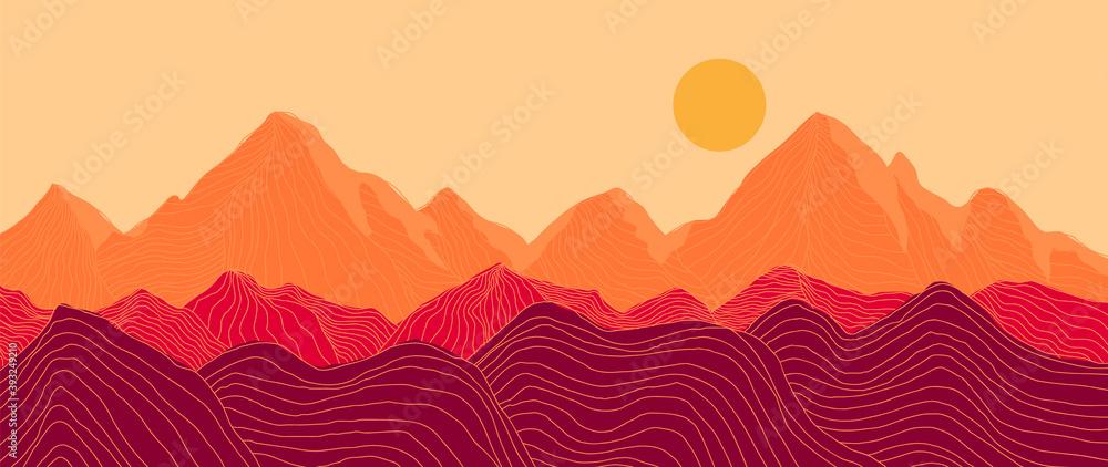 Fototapeta Mountain line arts background vector. Landscape with mountains and sun, Mountainous terrain, Sun set wallpaper design for wall arts, cover, fabric. Vector illustration.