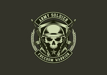 Vintage Retro Badass Tactical Army Special Combat Force Skull Badge Vector Illustration