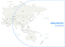 Indo-Pacific Country Map. RCEP Countries Vector Map.