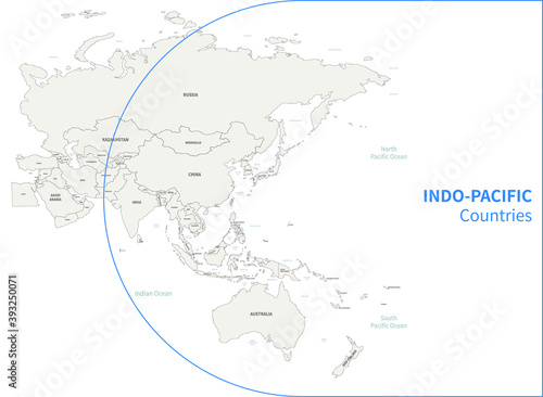Fototapeta Indo-Pacific country map. RCEP countries vector map. obraz