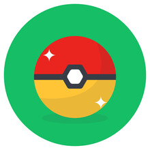 A Pokemon  Game Ball In Flat ...
