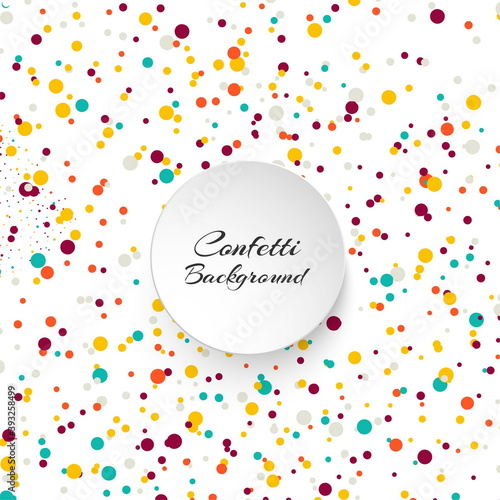 Foto Abstract background with many falling colorful confetti round vector